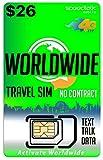 Worldwide Travel SIM Card - International Talk Text Data on Over 200 Countries