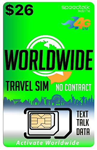 Worldwide Travel SIM Card - International Talk Text Data on Over 200 Countries - Compatible with All Unlocked GSM Phones (Best Sim Card To Use Abroad)