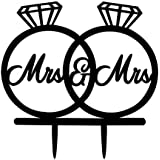 [USA-SALES] Mrs and Mrs, 2 Rings Cake Topper, Lesbian Wedding Decoration, US Seller