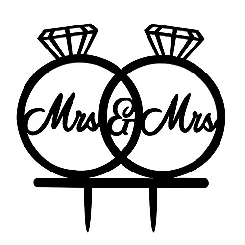 Lesbian Wedding Decoration 2 Rings Cake Topper Mrs and Mrs USA-SALES US Seller COMIN18JU029789