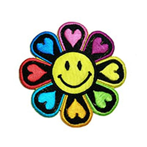 R2K Flower Power smiley face love fun embroidered iron on - State Chicago On Shops Street