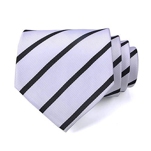 Professional Stripe Tie - LUISDAN Stripe Tie Jacquard Woven Microfiber Formal Men's Neckties - Various Styles (White&Black)