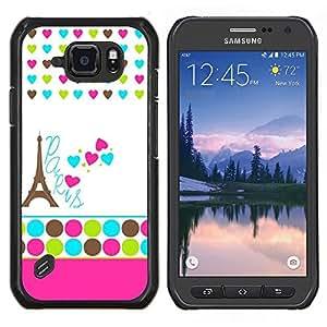 Cubierta protectora del caso de Shell Plástico    Samsung Galaxy S6 Active G890A    Lunares blancos Corazón Francia Eifel @XPTECH