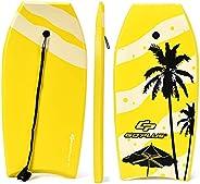 Goplus Body Board, Lightweight Bodyboard with EPS Core, XPE Deck, HDPE Slick Bottom, Premium Leash & Adjus