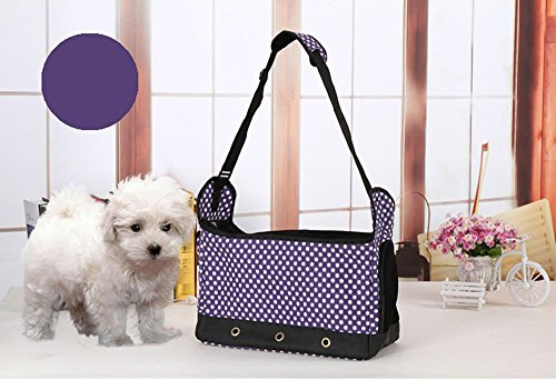 Lautechco Pet Dog Carriers Dots Stripped Nylon Canvas Dog Bags Soft Sided Pet Bags Fashion Puppy Handbag Leisure Pet Slings (Purple) by Lautechco®
