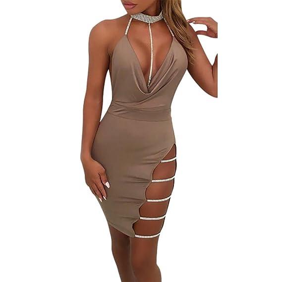 Overdose 2018 Mejor Venta Sexy para Mujer Cuello En V Profundo Halter Backless Choker Slit Lentejuelas Bodycon Mini Vestido: Amazon.es: Ropa y accesorios