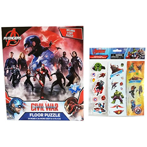 "3-Foot Licensed Marvel 46 Piece Avengers - Captain America Floor Puzzle Activity 24"" X 36"" and Personalized Avengers Stickers (2 Item Bundle)"