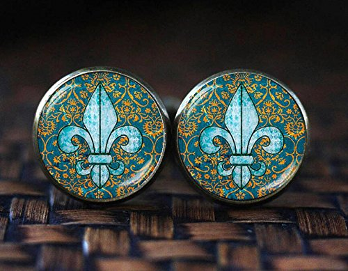 (Fleur de lis cufflinks, heraldy cufflinks, royal heraldic sign, heraldic cuff links)