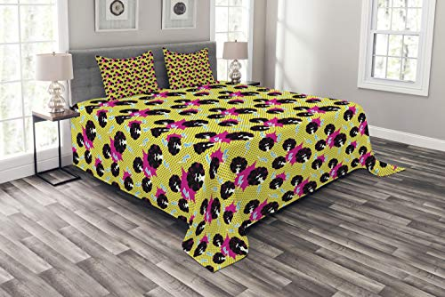 Ambesonne Disco Party Bedspread, Retro 80s Theme Girls with Black Curly Afro Hair and Polka Dots Funky Pop Art, Decorative Quilted 3 Piece Coverlet Set with 2 Pillow Shams, Queen Size, Multicolor -