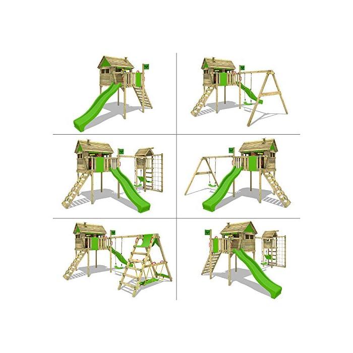 51n4dTyf%2BWL XXL Torre de juego en un diseño colorido con un columpio doble y un conjunto completo de accesorios 10 años de garantía* para todos los elementos de madera - Viga de columpio de 9x9cm, postes verticales de 7x7cm Madera maciza impregnada en clave, de fácil mantenimiento - Instrucciones de montaje sencillas y detalladas