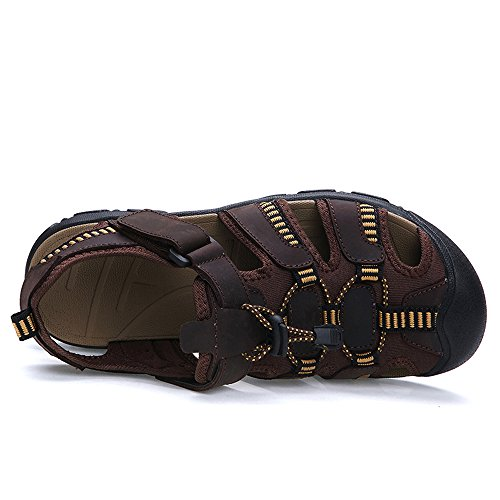 Enllerviid Hombres Leather Fisherman Sandals Outdoor Hiking Athletic Sports Zapatos De Agua Marrón Oscuro