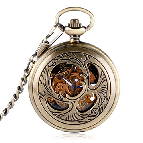 Hollow Antique Flowers Skeleton Cooper Mechanical Hand Wind Pocket Watch Men Carving Fob Clock Steampunk Reloj De Bolsillo Gifts 5 from Lseetime