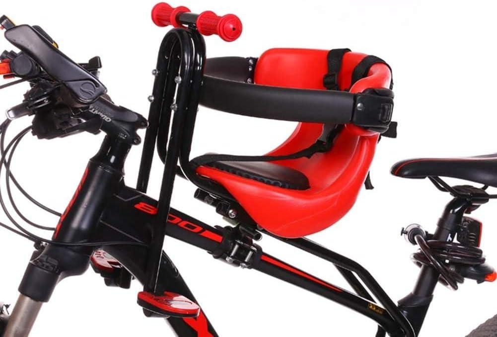 Sillas de Bicicletas Sillín Infantil Portabebés para Bicicleta con Pedales Respaldo Hasta100kg De 3-7 Años para Niños Asiento Delantero para con Mango Desmontable