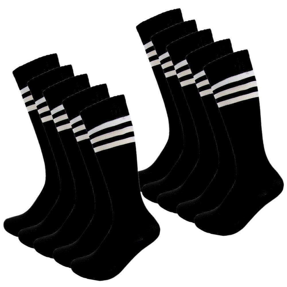 Kids Soccer Socks 4 Pack Boys Girls Cotton Team Socks Teens Children Soccer Socks (Shoe size 6-10 and Ages 12-15, Black) by FOMANN