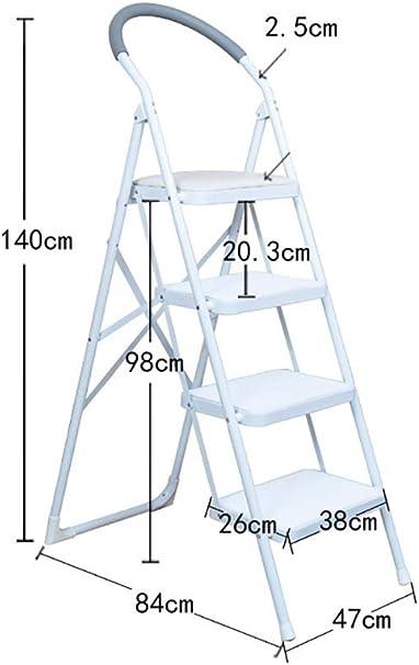 XITER-Taburete Escalera, Escalera de 4 Niveles Taburete de Metal Escalera Plegable Taburete con asa Cubierta Antideslizante Interior Escalera Alta Escalera Multifuncional Taburete de Seguridad: Amazon.es: Hogar
