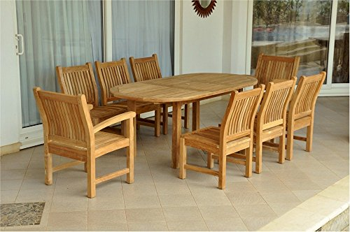 Anderson Teak Set-84 - DupioneLaurel Oval Extension Table & Sahara Dining Armchair Set, 78
