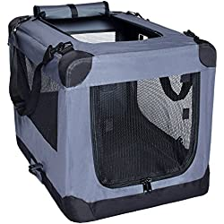 Arf Pets Dog Soft Crate 36 Inch Kennel for Pet Indoor Home & Outdoor Use - Soft Sided 3 Door Folding Travel Carrier with Straps