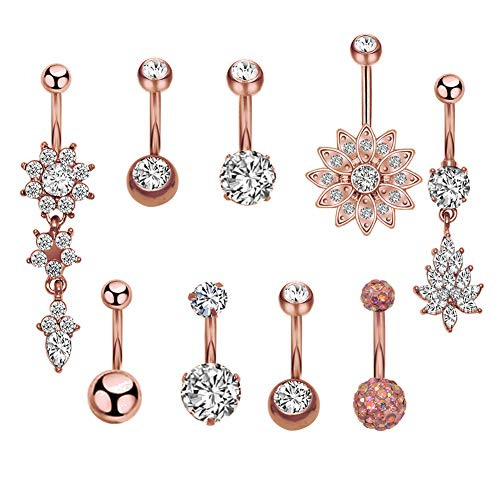 CrazyPiercing 9 Pcs 14G Belly Button Rings, Stainless Steel Dangle Navel Rings, Navel Rings Barbell CZ Body Piercing Jewelry for Women Girls (Rose Gold Tone) 14g Body Jewelry Beach Ball