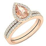 10K Rose Gold 7X5 MM Pear Morganite & Round Diamond Ladies Bridal Engagement Ring Set (Size 7.5)