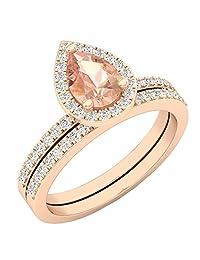 10K White Gold 7X5 MM Pear Gemstone & Round Diamond Ladies Bridal Engagement Ring Set