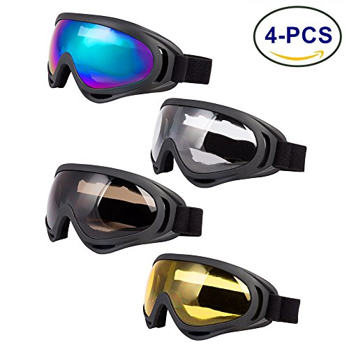 LJDJ Ski Goggles, Pack of 4 - Snowboard Adjustable UV 400 Protective Motorcycle Goggles Outdoor Sports Tactical Glasses Dust-proof Combat Military Sunglasses for Kids, Boys, Girls, Youth, Men, Women - Sunglasses Goggles Ski Men For