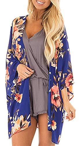 (Womens Floral Kimono Cardigans Sheer Print Chiffon Loose Beach Cover ups (Royal Blue,XL)