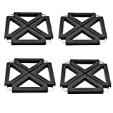 Fyuan Pot Holder Adjustable Foldable for Hot Dishes Trivet Silicone Metal Kitchen Table Dish Mats, Black, 4 Pieces