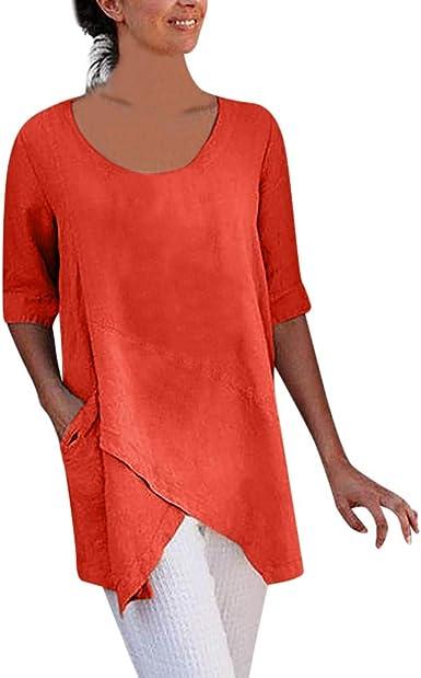 VEMOW Camisetas Mujer Blusa de algodón y Lino de Media Manga con diseño Cruzado para Mujer Camiseta con Bolsillo Tops: Amazon.es: Ropa y accesorios
