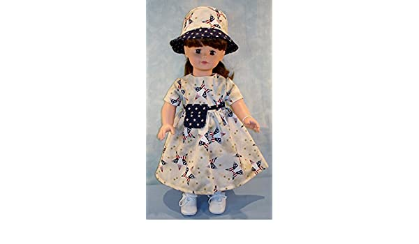Patriotic Stars 4th of July Outfit handmade by Jane Ellen to fit 18 inch dolls 18 Inch Doll Clothes