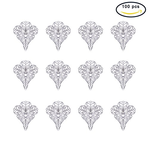 NBEADS 100Pcs Silver Color Brass Filigree 3-Petal Flower Shaped Bead Caps/Cones End Caps for Jewelry Making Filigree Cone