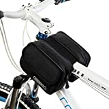 Tofern Cycling Bicycle Bike Frame Bag Front tube Double Bag Top Tube Frame Saddle Pouch (1.5L) - Black