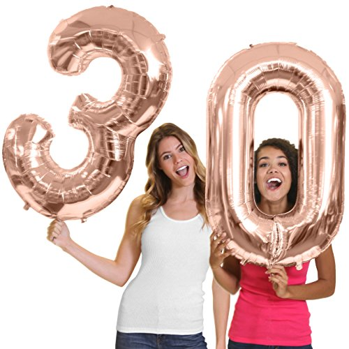 RhinestoneSash 34 Giant Rose Gold 30th Birthday Helium Quality Foil Mylar Balloon - Birthday Decorations & Supplies - Rose Gold (Number 30) balln(30) Rosegold
