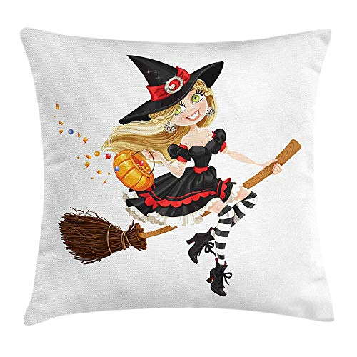 Queolszi Witch Throw Pillow Cushion Cover, Young Witch on a Broomstick Flying with Candies in Her Pumpkin Halloween Costume, Decorative Square Accent Pillow Case, 24 X 24 Inches, Multicolor -