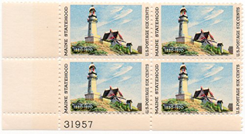 MAINE LIGHTHOUSE AT TWO LIGHTS ~ EDWARD HOPPER #1391 Plate Block of 4 x 6¢ US Postage Stamps