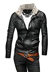 Kisstyle Mens Stand Collar Zipper Pure Color PU leather Coat