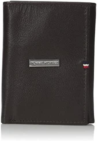 Tommy Hilfiger Men's Leather Trifold Billfold Wallet With Metal Logo