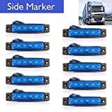 "Eaglerich 10pcs 12v 3.8"" 6 LED BLUE Side Led Marker, Trailer marker lights, Led marker lights for trucks, Marker light, Cab Marker, RV Marker light Red, Rear side marker light"