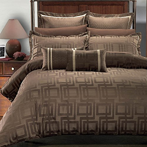 8 piece King / California King Size Comforter Set, charcoal brown and beige