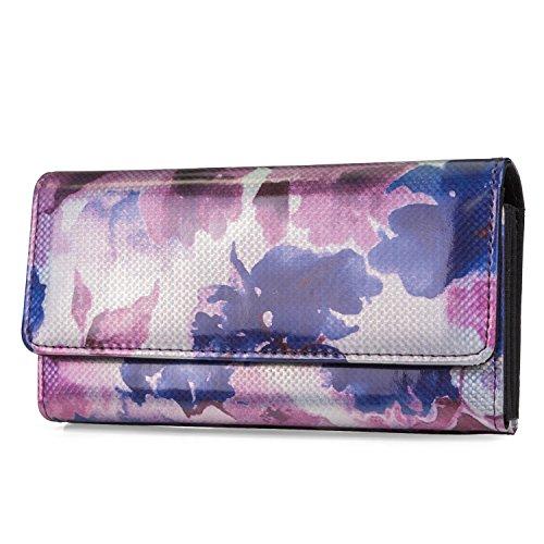 Mundi File Master Womens RFID Blocking Wallet Clutch Organizer With Change Pocket (One Size, Pink/Purple Flower) ()
