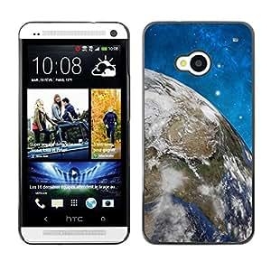 Be Good Phone Accessory // Dura Cáscara cubierta Protectora Caso Carcasa Funda de Protección para HTC One M7 // Space Stars Blue Sky Earth Universe Planet