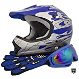 HHH DOT Youth & Kids Helmet for Dirtbike ATV Motocross MX Offroad Motorcyle Street bike Black/Blue, Blue Flame + WITH FREE GLOVES AND GOOGLES (Small, Blue Flame)