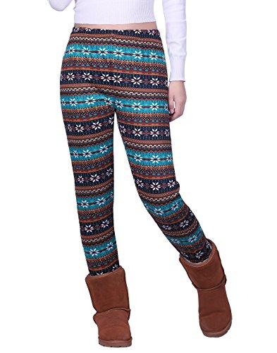 HDE Women's Winter Leggings Warm Fleece Lined Thermal High Waist Patterned Pants,Teal Brown Snowflakes,Large (US 12-14)