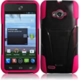 For ZTE Savvy Z750C Cover Case (T-Stand Hybrid Black / Hot pink)