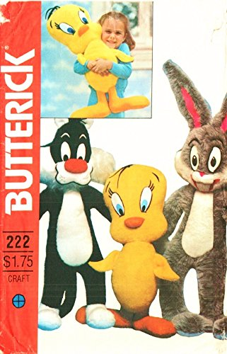 Butterick 6347 Sewing Pattern Vintage Stuffed Animals Looney Tunes Tweety Bird, Buggs Bunny, Sylvester the Cat