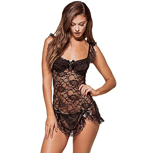 [BENNINGCO Womens Black Lace Ribbon Trim Babydoll Lingerie(Black,L)] (Miss America Costume 2016)
