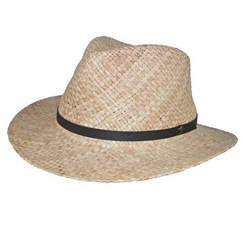 Scala Classico Men's Raffia Outback Hat with 3 inch Brim and Kangaroo Badge ()