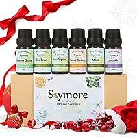 Skymore Aceites Esenciales Set de 6 estilos Aroma (Limón, Lavanda, Té Algodón, Eucalipto, Naranja, Menta) relajación y kurren Aceite 100% Pur de Aromaterapia presente de San Valentín 6 x 10 ml