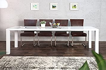 Casa Padrino Moderner Design Esstisch Weiß Hochglanz Ausziehbar