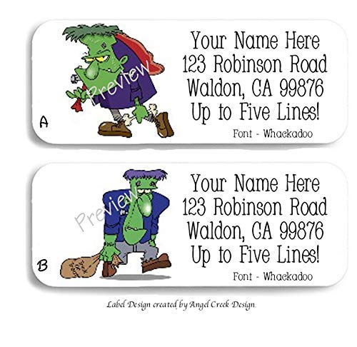 60 Cartoon Halloween Frankenstein Personalized Return Address Labels