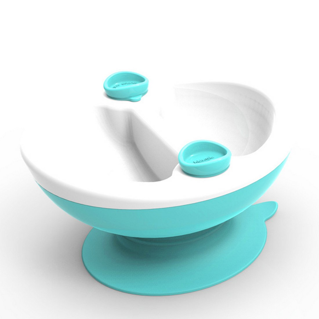 Baby Bowl, Hmane Baby Heat Retaining Warm Divided Bowl Toddler Water Injected Insulated Feeding Bowl with Sucker(Two Water Inlets) - Green + White